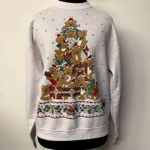 VTG Teddy Bear Xmas Tree Ugly Christmas Sweater